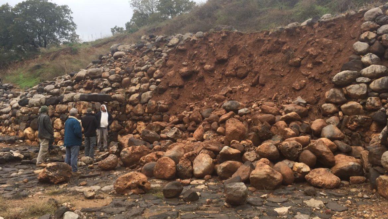 החומה העתיקה של תל דן, התמוטטה בעקבות הגשם
