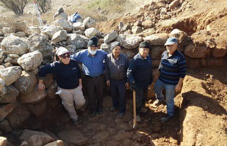 חפירה ארכיאולוגית באתר תל מחפי בצפון מזרח הגולן